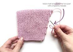 Knitted Baby Hat with Pom pom – Knitting Pattern & Tutorial Gestrickte Babymütze mit Pom Pom – Pixie Hat Strickmuster & Tutorial Baby Knitting Patterns, Baby Hat Patterns, Baby Hats Knitting, Free Knitting, Knitting Needles, Knitted Hats Kids, Knitted Baby, Baby Born Kleidung, Baby Bonnet Pattern