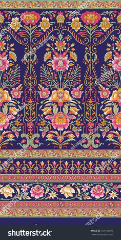 Traditional Indian motif - lotus and continuous Textile Pattern Design, Textile Patterns, Textile Prints, Pattern Art, Boarder Designs, Border Embroidery Designs, Indian Art Traditional, Hand Painted Wallpaper, Album Design