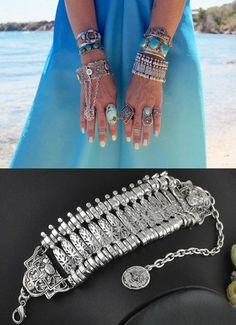 Turkish Boho Antalya Coin Jewelry Coachella Festival Tribal Ethnic Statement Bracelet Sinaya Tribal Ethnic Jewelry