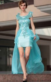 Chic Blue High-low Style Foraml Dress with Beaded Bodice and Neckline