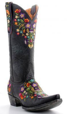Lovely boho Cowboy boots ~ Embroidered Black Sora