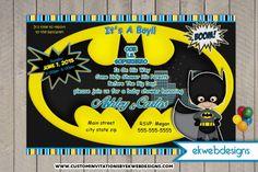 Batman Baby Shower Invitations Custom Superhero Invites