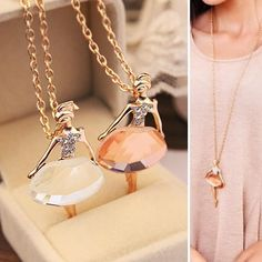 1pc Alloy+Crystal Ballet Dancer Girl Necklace Pendant Chain Women Jewelry Gift