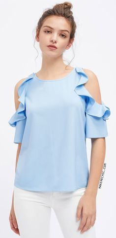 Flounce Open Shoulder Top