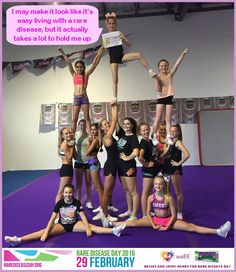 It's World Rare Disease Day! This is Bella who is living with eosinophilic oesophagitis and held up by her friends from Sunshine Coast Cheerleading. It takes a team of 6 medical professionals, 5 daily medications and a lot of hard work to keep her enjoying living her life. It makes all the difference to have supportive friends and family too! #rarediseaseday #rdd2016 #careaboutrare #raiseyourhands #cheerleader We unite to raise awareness for all those living with a rare…
