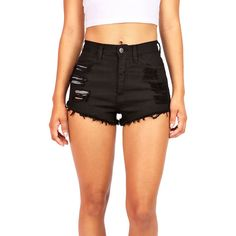 Pink Ice Slicker High Waist Shorts ($38) ❤ liked on Polyvore featuring shorts, bottoms, pants, black, black shorts, distressed jean shorts, ripped jean shorts, ripped high waisted shorts and destroyed denim shorts