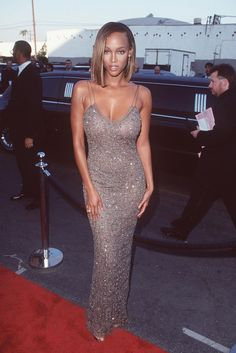 Tyra Banks, Our '90s Rihanna-In-Training #refinery29  http://www.refinery29.com/tyra-banks-lookbook-throwback-90s-fashion#slide-1  At the 13th Annual Soul Train Music Awards (which sound like a pretty decent bash) Banks stunned in a slinky crystal slip and pretty much nothing else. ...