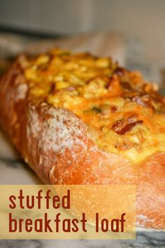 Stuffed Breakfast Loaf (so easy--eggs, cheese, bacon,--whatever you want)  #foodiegems  http://thefoodienews.blogspot.com/