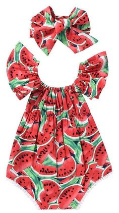 8a672848fea Adorable summer romper for baby girl. Cute watermelon print with ruffled  sleeves and a matching