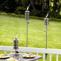 Light up the night with citronella tiki torches.