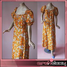 Vintage 1960s Empire Bust Orange Maxi Dress http://www.ebay.co.uk/itm/Vintage-1960s-Empire-Bust-Orange-Graphic-Floral-Print-Gathered-Maxi-Dress-UK14-/371623684602 #vintagedress #retro