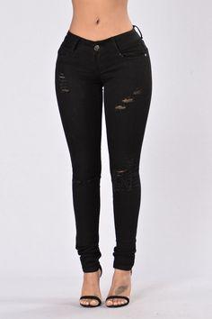 Work Got Me Distressed Jeans - Black