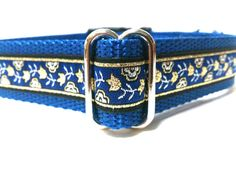 Adjustable dog collar in Royal Blue with Gold Floral by ELMEDO, $17.00