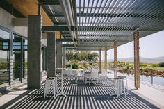 lovely deck at Cavalli All White Wedding, Pergola, Deck, Outdoor Structures, Wedding Ideas, Drinks, Green, Drinking, Beverages