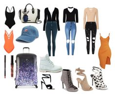 """""""Kylie's suitcase"""" by andreadif on Polyvore featuring Kendall + Kylie, Pretty Little Thing, T By Alexander Wang, Boohoo, Proenza Schouler, Topshop, Gianvito Rossi, Timberland and Heys"""