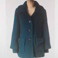 """Anthropologie/Tabitha coat. Size small. Adorable Anthropologie/Tabitha coat in rich jewel tone teal. Gorgeous color. Rounded collar, big buttons, bows at pockets. 28"""" length. Worn but in outstanding condition. Anthropologie Jackets & Coats Pea Coats"""