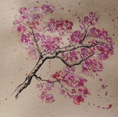 Original Painting Cherry Blossom Watercolour and Pen Original Artwork, Watercolour on Paper