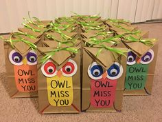 OWL MISS YOU - gift bags for students More