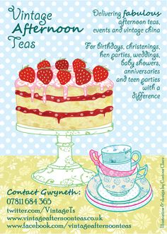 © Curious Clare - digital illustration & design for Vintage Afternoon Teas. First version!