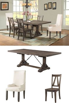 Dressed in a smokey walnut finish. This handsome trestle style table features a removable leaf for added space and two chair options to suit your style. The Parsons chair is upholstered in a cream polyester fabric with wooden legs matching the finish of the table. The back of the wooden side chairs are designed to match the trestles of the table with the same angled panels. Turnbuckle metal accents complete the look of this rustic chic collection.