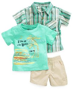 dd997485f9 Nannette Baby Boys' 3-Piece Woven Shirt, Tee & Shorts Set & Reviews - Kids  - Macy's. Polo Shirt OutfitsToddler ...