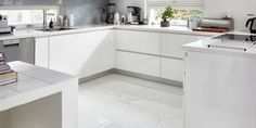 Vaaleat lattiat sekä raikas kodinhoitohuone ja wc│ Laattapiste #remontti #laattapiste #marmori #keittiö #laattalattia Decor, Furniture, Kitchen Cabinets, Cabinet, Table, Home Decor, Kitchen