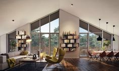 The pitched roof in this stylish home from visualizer Vizuall gives the living room a bit of height. Coupled with the low, angular sofa and modern sling chairs, the contrast creates visual interest while serving its practical purpose.