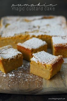 This Pumpkin Magic Custard Cake recipe is like pumpkin pie without the crust. It has a custard layer topped with cake. Try it for Thanksgiving dinner! #PumpkinCakeRecipe