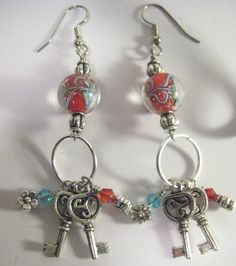 Turquoise and Red Lampwork Boro Bead Key Ring and Crystal Dangle Hoop Earrings by Maags on Etsy https://www.etsy.com/listing/74003411/turquoise-and-red-lampwork-boro-bead-key