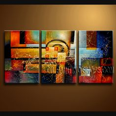 Enchant Modern Abstract Painting Hand-Painted Art Paintings For Living Room Abstract. This 3 panels canvas wall art is hand painted by Bo Yi Art Studio, instock - $135. To see more, visit OilPaintingShops.com