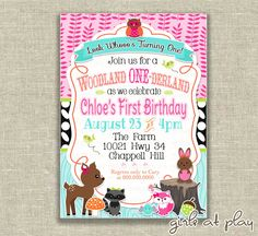 Woodland 1st First Birthday Girl Invitation Nature Owl Deer - Digital - by girls at play girlsatplay invitation invite first birthday 1st birthday girlsatplay girls at play Woodland Nature Deer Owl Woods animal Girl birthday pink green WOODLAND BIRTHDAY Birthday girl girlsatplay 10.00 USD