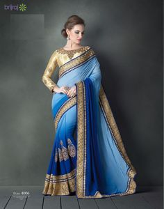 Blue party wear saree by Brijraj