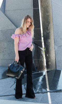 black flares, Givenchy antigona, ruffle top (@lifewithaco)