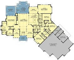 Amazing One Level Craftsman House Plan - - 4 car tandem garage Dream House Plans, House Floor Plans, My Dream Home, Cottage Style House Plans, Cottage Style Homes, Cottage House, Cottage Design, Craftsman House Plans, Craftsman Style
