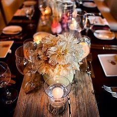 I like this - wood table runner for a vineyard look. Love this for winery #wedding or nature themed via @Emelle's Catering Ltd. Vancouver @Gina Karlsson