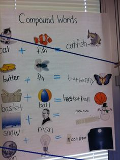 Kindergarten Compound Words Lesson.  Great for visual learners and includes some interactive writing.