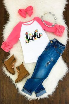 "Pink Ruffle Sleeve ""Love"" Shirt"