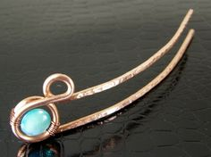 "Copper Wire Wrapped Hair Stick Pin Copper Hair Fork  This Hair Fork is 1"" Wide at the widest part, 5/8"" wide the rest and is 4-3/4"" inches total curved length, with 3-3/4"" usable length."