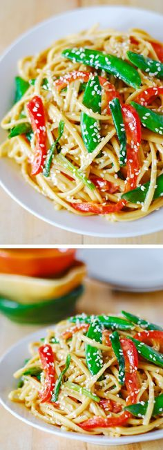 Asian peanut noodle salad with flavorful peanut dressing -  a delicious vegetarian recipe!