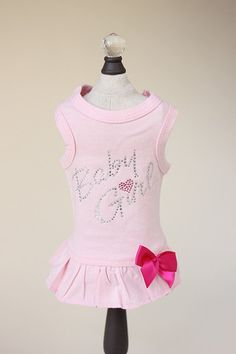 """Keep your baby looking stylish in this adorable cotton dog dress by Hello Doggie that features a glimmering rhinestones phrase """"Baby Girl"""" applique and satin bow accent. Available in 4 colors: Black, Pink, Fuchsia, and White. Small Dog Sweaters, Small Dog Clothes, Puppy Clothes, Dog Dresses, Girls Dresses, Designer Dog Clothes, Rhinestone Dress, Girl And Dog, Pink Dress"""