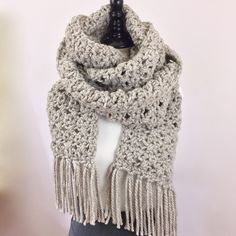 Scarf Extra Long Super Scarf Wool Beige Scarf Fringe Scarf Tan Winter Accessories for Her Handmade Crochet Knit Neutral Scarf Trendy Gifts by CuriousPurplePig on Etsy https://www.etsy.com/listing/494249138/scarf-extra-long-super-scarf-wool-beige