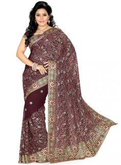 Captivating Wine Color Faux Georgette Based Embroidered #Saree