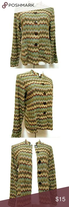 "Chevron Stripe Lightweight Cardigan Bust: 38"" Waist: 38"" Hip: 38"" Length shoulder-hem:  24"" Button front, front patch pockets Lightweight cotton blend.  Hand Wash Very good condition. No flaws Charter Club Sweaters Cardigans"
