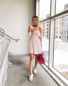 Lets take a poll do you like the sneakers with a dress trend?! Comment below  for me its a can be a hit or miss but overall all its a DO for me .  #ootd #polkadot #sundayvibes #shoppinglinks #lotd