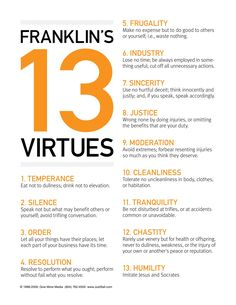Ben Franklin's 13 Virtues - My hometown, Franklin. Named after Ben Franklin. Which makes these virtues a mystery to me that I have never heard of them before. Interesting nonetheless.