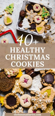 The ultimate healthy Christmas cookies list!! My favorite are the vegan linzer cookies and vegan sugar cookie cut outs! Everything from Paleo, gluten free, to keto and vegan. A mix of classic and new Christmas cookies!
