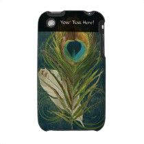 Vintage Teal Peacock Feather Iphone 3 Cover by cutencomfy