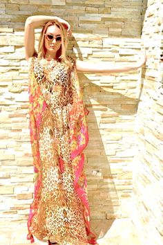 Exotic pattern leopard print long silk chiffon kaftan maxi dress boho style, resort wear on Etsy, $425.41 CAD