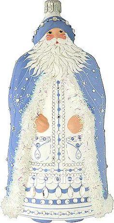 Tyrol Santa (Blue) Patrcia Breen (Blue, Enamel, Pearl/white, Snowflakes, Christmas, Ornaments)