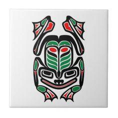 Native Haida Art Frog - black on white Tile